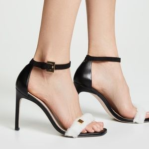 Stuart Weitzman Sz 7.5 Black Shearling Strap Heels
